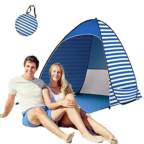 Pop Up Beach Tent, Rated Upf 50+ Uv Pop Up Sun Shelter, Beach Tent for Outdoor Camping Fishing Picnic