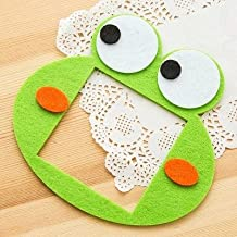 Jadebin Cute Cartoon Felt Hollow Switch Socket Wall Stickers for Home Decoration & Kids Room Decoration - Green Frog