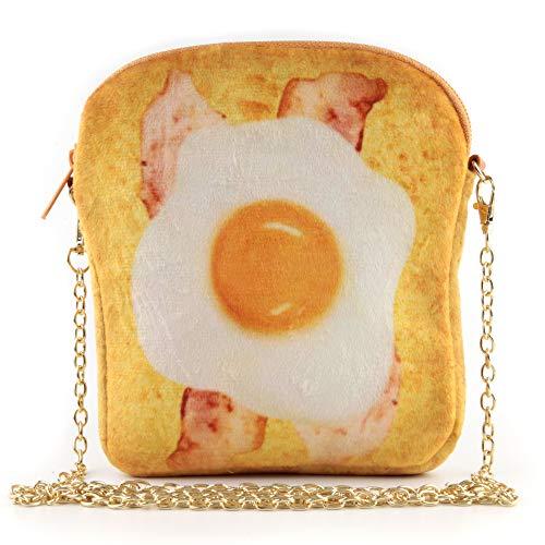QiMing Fried Eggs Bacon barbecue Toast Shoulder Bag,Cute Plush Food Crossbody Handbag for Women