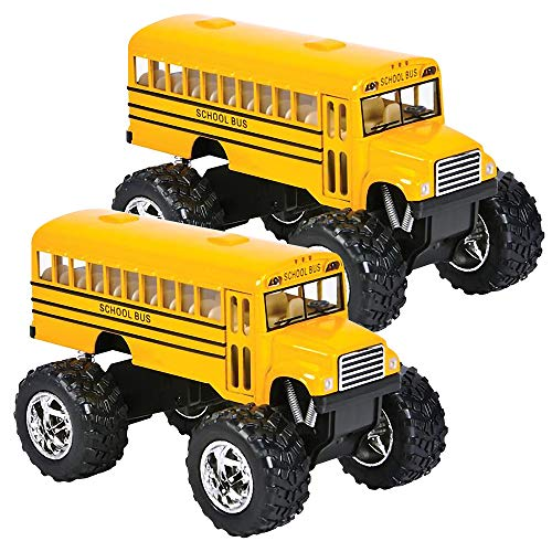 ArtCreativity 5 Inch Pullback School Bus Toy Set - Set of 2 - Includes 2 Yellow School Buses with Monster Wheels - Diecast Bus Playset with Pullback Mechanisms - Great Gift Idea for Boys and Girls