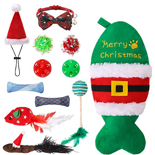 PUPTECK 11 PCS Christmas Cat Toys Set with Fish Stocking - Cat Bowtie Collar with Bell, Cute Christmas hat, Crinkle Ball, Plush Catnip Mice, Bell Ball