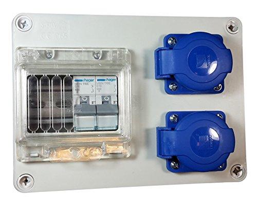 Baustromverteiler / Wandverteiler 2 x Schuko 230 V verdrahtet + 2 x Hager MBN116E