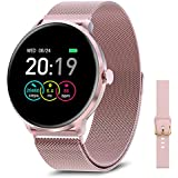 BRIBEJAT Smart Watch for Women for Android Phones Compatible iPhone Samsung, Activity Tracker Smartwatch IP68 Waterproof, Heart Rate and Sleep Monitor, Stainless Steel Magnetic Band, Pink