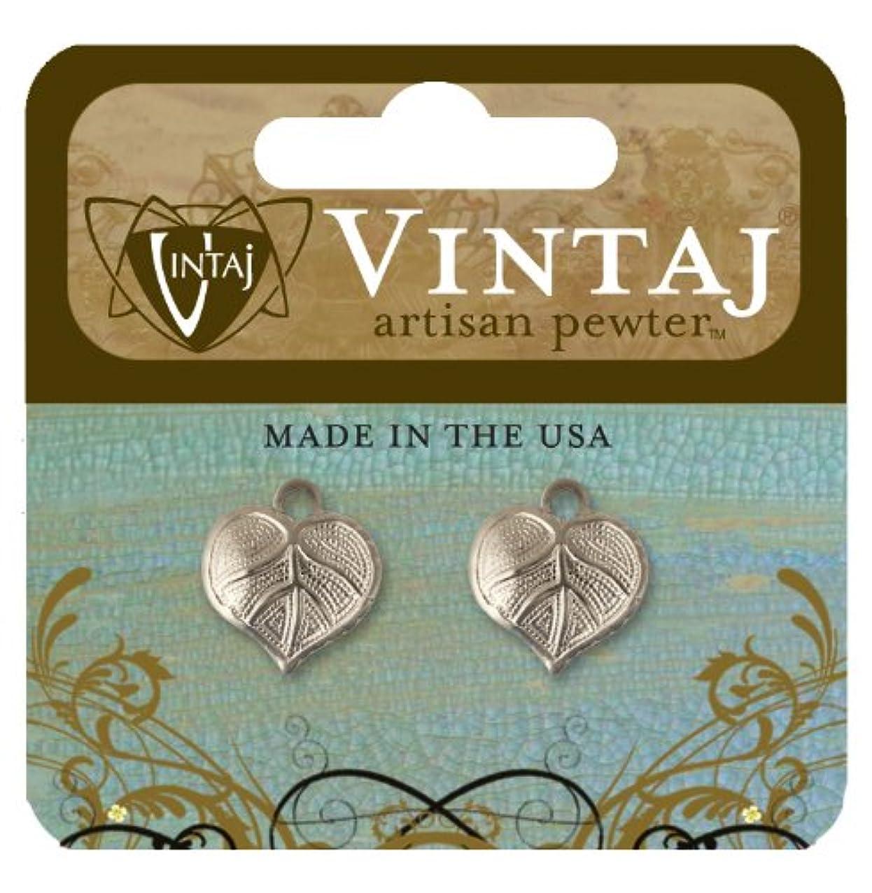 Vintaj Artisan Pewter 2-Piece Nouveau Leaf Pendant, 14 by 12mm