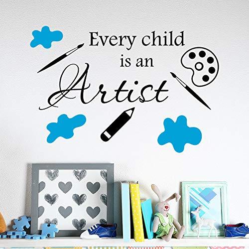 Aicedu Elk kind is een kunstenaar, zelfklevend, citaten van vinyl, letters Nursery Room, binnenwand, decoratie, elegant, 62 x 42 cm