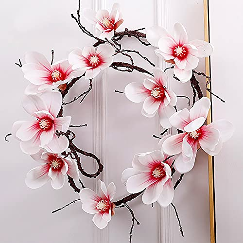 SMLJFO Guirnalda artificial de 108 cm para plantas de magnolia, tela de ratán, guirnalda de simulación de primavera y verano, para interiores y exteriores, decoración de pared, color rosa