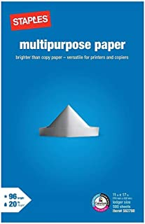 """Staples Inkjet Paper – 11"""" x 17"""" Multipurpose Paper, 1 Ream for 500 Total Sheets, 20 lbs, 96 Bright Paper – FSC and Rainfo..."""