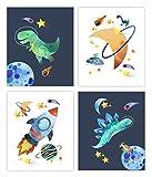 Dinosaur space nursery prints Set of 4 (Unframed) Nursery Decor Art (8x10)
