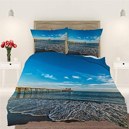 BEISISS Seascape 3 Piece Bedding Duvet Cover Set,Malibu Pier at Sunset Blue,Luxury Quality Soft Lightweight Durable Bedding Sets,Full