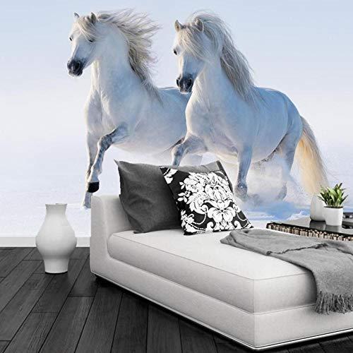 ZJfong aangepaste 3D muurschildering twee witte paarden lopen in de sneeuw hotel restaurant woonkamer bank TV muur slaapkamer behang 220 x 140 cm.