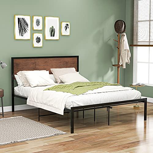 LSFYYDS Cama electroforética de metal negro mate de 3 mm, cama individual o doble, cama de plataforma de metal, marco de cama individual con cabecero de madera para adultos y niños (90/135 x 190 cm)