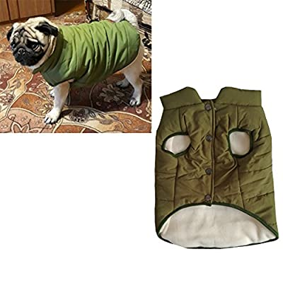 Tineer Hooded Pet Clothing Cute Pet Clothing Warm Hooded French Bulldog Warm Vest Suit (XL, Green)