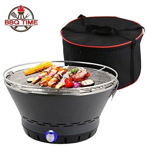 BBQ Time! L'Originale Barbecue A Carbone Senza Fumo! L'Unico Con Il Sistema Brevettato Di Ricircolo Dell'Aria! Grill Rotondo Griglia Da Tavolo Fornetto Ventilato