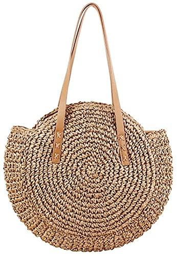 YRHH Strohsäcke Frauen Strandkorb, Geflochtener Runder Korb Einkaufskorb, Strandtasche Mode Frauentasche-A||S