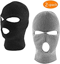 ZONLY 2Pack Knitted 3 Hole face ski mask, Adult Winter Balaclava Warm Knit Full Face Mask for Outdoor Sports Black, 14