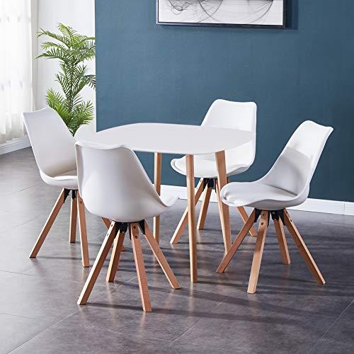 GOLDFAN Esstisch mit 4 Stühlen mit Kissen Moderne Esstisch Rund für Esszimmer Büro Wohnzimmer Küche, Weiß