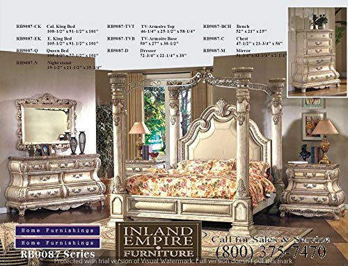Inland Empire Furniture Arianna Antique White Wash Solid Queen Canopy Bedroom Set