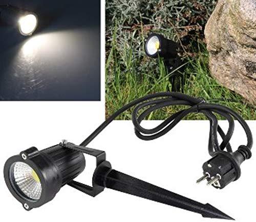 ChiliTec LED Pflanzen & Garten-Strahler 5Watt Neutralweiss 450 Lumen 1,5m Kabel Erdspieß I Wasserfest IP44 I 230V Schwarz