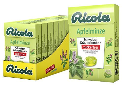 Ricola Apfelminze, Schweizer Kräuterbonbon, 10 x 50g Böxli, ohne Zucker, Wohltuend und erfrischender Genuss
