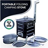 Camping Stove – Portable Outdoor Wood Burning Folding Camp Stove for Outdoor, Camping, Hiking, Fishing, Hunting, RV, Emergency Preparedness - Portable Camping Grill - BBQ Rocket Stove