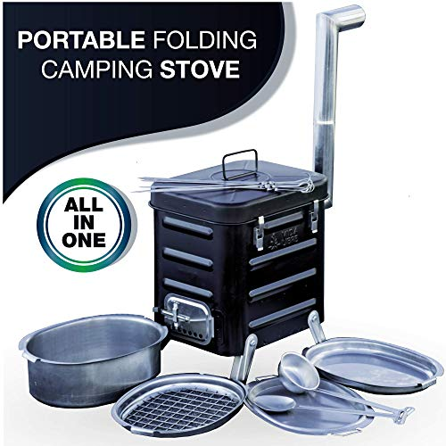 VidaLibre Camping Stove – Portable Outdoor Wood Burning Folding Camp Stove for Camping, Hiking, Fishing, Hunting, RV, Emergency Preparedness - Portable Camping Grill - BBQ Rocket Stove