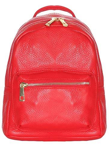 malito Damen Rucksack   Handtasche in trendigen Farben   Echtleder Rucksack   Schultertasche - Umhängetasche R500 (rot)