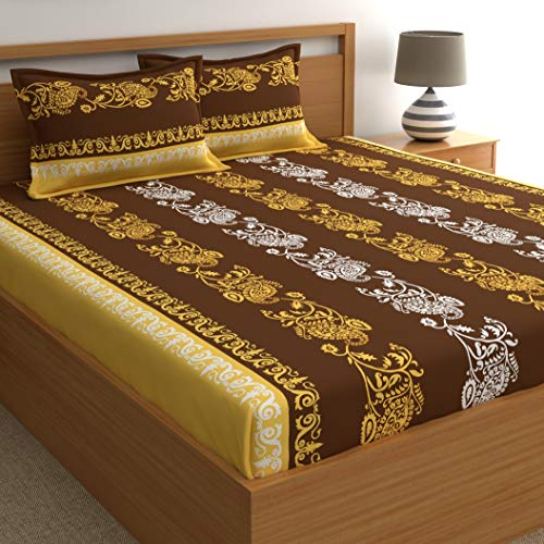 Home Ecstasy 140TC, 100% Cotton Bedsheets for Double Bed with Pillow Cover, (Double, Ethnic Brown1)