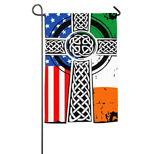 NPZBHoney30X45 Irish American USA Flag Celtic Cross St Patrick's Day Classic Garden Flag Decorative Flags for Outdoors - 12' X 18' | 18' X 27'