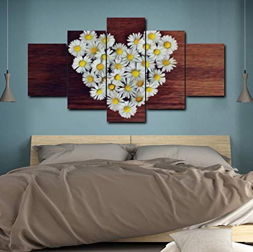 pbbzl 5 affiches en graveren, houten plank, romantisch, liefde, witte bloemen, canvas, wand, kunst, foto, slaapkamer, decoratieve lijst 30x40cmx2/30x60cmx2/30x80cmx1