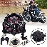 1 Set 20 * 10 * 10 cm Aluminio Negro de la motocicleta del filtro de aire filtro de la toma for Harley Touring for 2017-2019 for Softail 2018 Universal