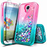 Galaxy S4 Case with Tempered Glass Screen Protector for Girls Women Kids, NageBee Glitter Liquid Bling Floating Waterfall Diamond Shockproof Durable Cute Case for Samsung Galaxy S4 -Pink/Aqua