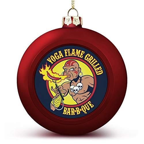 VNFDAS Street Fighter Dhalsim Yoga Flamme Grillé Barbecue Boule de Noël Ornements Magnifiquement décorés Boule de Noël Parfait Boule à Suspendre pour Vacances Mariage Fête