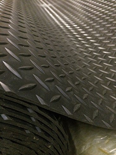 Shield Auctocare Black Large Diamond Plate Rubber Mat Flooring| 4ft 9' (1.5 Metres) wide | Choose your own length in 3ft (foot) Lengths | 3mm Thick | A Grade |