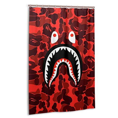 NA-1 Ba-pe Red Blood Camo Shark Face Waterproof Polyester Fabric Bathroom Curtains Set with Hooks Modern Bathroom Decor(48 x 72 inch)