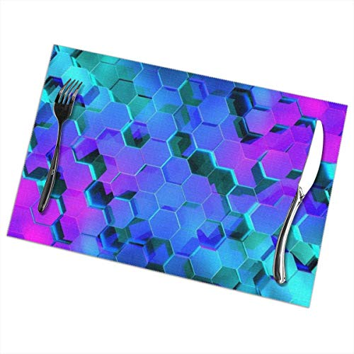 Tafelset, afwasbaar, hittebestendig, antislip, geometry-design, 6 stuks