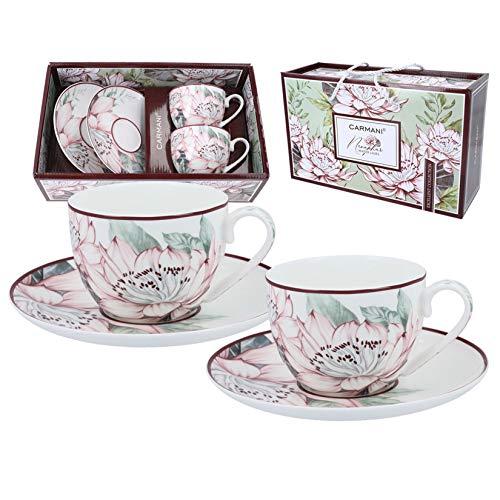 CARMANI - Fancy Teetasse und Untertasse 2er Set mit Seerosen 200ml