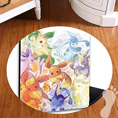 ROOMBA Tapis de bain rond pour salle de bain, dessous antidérapant, tapis de bain pour sol, douche, cuisine, tapis en flanelle, 50,8 cm – Pikachu Pokémon Evoli Evolutions Manga Anime Comic