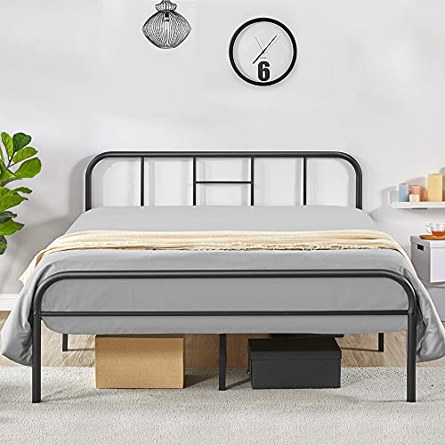 Yaheetech Black Metal Double Bed 4ft6 Iron Bed Frame with Curved Headboard, Under Bed Storage Space, for Adults/Teenagers, Suit for 135x190cm Mattress, Easy Assembly