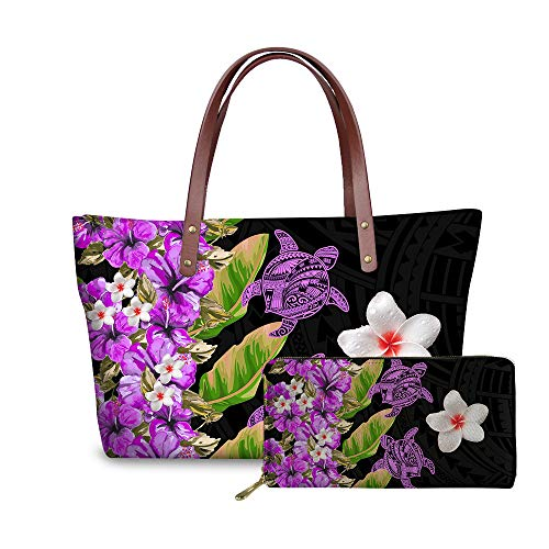 SEANATIVE Juego de bolsos étnicos con diseño de flores de Plumeria púrpura estilo tribal polinesio con monedero de cuero y soporte para tarjetas de teléfono, viajes de compras