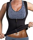 Bingrong Chaleco Neopreno Sauna Mujer Fajas Reductoras Adelgazantes Mujer Compresion para Adelgazante Sudoración para Deporte Fitness (Negro, X-Large)
