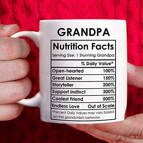 Grandpa Gifts from Granddaughter Grandson, Best Grandpa Mug - Grandpa Birthday Giftsfrom Grandkids, Fathers Day Gift for Grandpa Christmas Gifts for Grandfather - White, 11oz