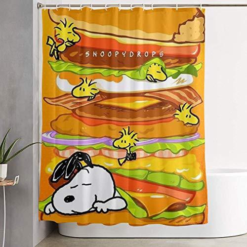 liangchunmei Lustiger Stoff-Duschvorhang Snoopy & Woodstock wasserdichtes Badezimmer-Dekor mit Haken 60 x 72 Zoll