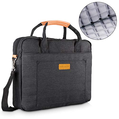 DOB SECHS 14-14.4 Inch Laptop Shockproof Shoulder Bag Sleeve Briefcase, Compatible 15'' MacBook Pro, Notebook/Ultrabook/SurfaceBook/Chromebook with Denim Fabric and Carry Strap, Black