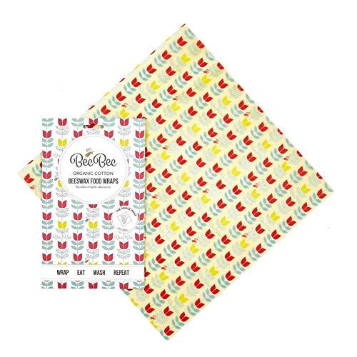 BeeBee Wraps Bienenenwachs Wrap Collection Einzelpackung - Tulip-Design mehrfarbig