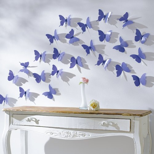 Schmetterlinge Set 12 tlg. zum Kleben Wandtattoo Wanddeko lila