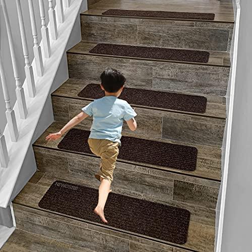 Tappetini antiscivolo per scale da 20,8 x 30,5 cm, per interni in legno, antiscivolo, antiscivolo, riutilizzabili, in legno, autoadesivi, tappetini (marrone, 14)
