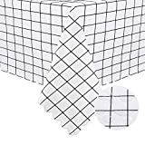 Hiasan Checkered PVC Square Tablecloth 100% Waterproof Spillproof Stain Resistant Wipeable Vinyl Table Cloth for Outdoor Picnic Kitchen Dining, 54 x 54 Inch, White