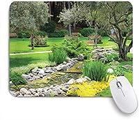 KAPANOU マウスパッド、池の草の石と木々と庭園日本公園スタイルのレクリエーションビュー おしゃれ 耐久性が良い 滑り止めゴム底 ゲーミングなど適用 マウス 用ノートブックコンピュータマウスマット