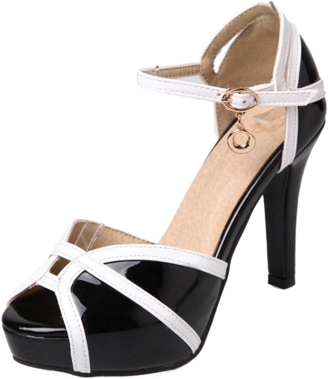 ELEEMEE Women Fashion Platform High Heels Ankle Strap
