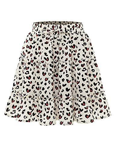 Bbonlinedress Damen Rock Röcke Sommerrock Minirock Kurz Röcke Skirts im Sommer A-White Leopard L